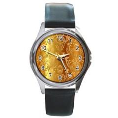 Golden Pattern Vintage Gradient Vector Round Metal Watch