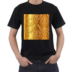 Golden Pattern Vintage Gradient Vector Men s T Shirt (black) (two Sided)