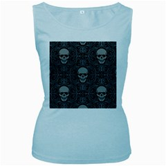 Dark Horror Skulls Pattern Women s Baby Blue Tank Top