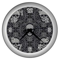 Dark Horror Skulls Pattern Wall Clocks (silver)
