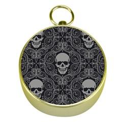 Dark Horror Skulls Pattern Gold Compasses