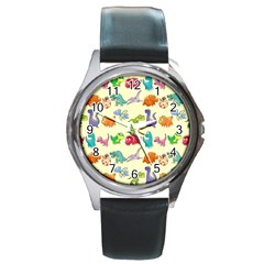 Group Of Funny Dinosaurs Graphic Round Metal Watch