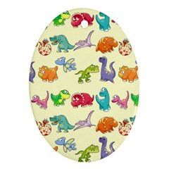 Group Of Funny Dinosaurs Graphic Ornament (oval)