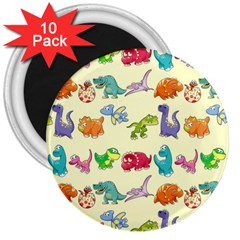 Group Of Funny Dinosaurs Graphic 3  Magnets (10 Pack)