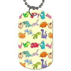 Group Of Funny Dinosaurs Graphic Dog Tag (one Side)