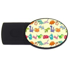 Group Of Funny Dinosaurs Graphic Usb Flash Drive Oval (4 Gb)