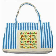 Group Of Funny Dinosaurs Graphic Striped Blue Tote Bag