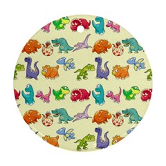 Group Of Funny Dinosaurs Graphic Round Ornament (two Sides)