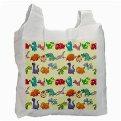 Group Of Funny Dinosaurs Graphic Recycle Bag (one Side)