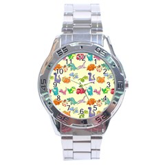 Group Of Funny Dinosaurs Graphic Stainless Steel Analogue Watch