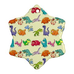 Group Of Funny Dinosaurs Graphic Snowflake Ornament (two Sides)