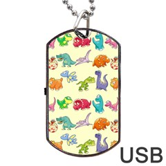 Group Of Funny Dinosaurs Graphic Dog Tag Usb Flash (two Sides)