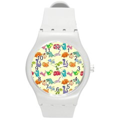 Group Of Funny Dinosaurs Graphic Round Plastic Sport Watch (m)