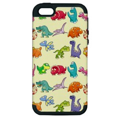Group Of Funny Dinosaurs Graphic Apple Iphone 5 Hardshell Case (pc+silicone)