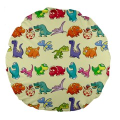 Group Of Funny Dinosaurs Graphic Large 18  Premium Round Cushions