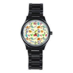 Group Of Funny Dinosaurs Graphic Stainless Steel Round Watch