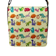 Group Of Funny Dinosaurs Graphic Flap Messenger Bag (l)