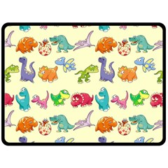 Group Of Funny Dinosaurs Graphic Double Sided Fleece Blanket (large)