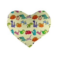 Group Of Funny Dinosaurs Graphic Standard 16  Premium Flano Heart Shape Cushions