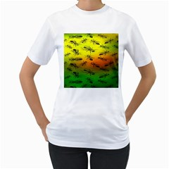 Insect Pattern Women s T Shirt (white) (two Sided)