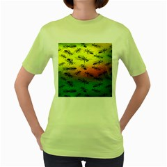 Insect Pattern Women s Green T Shirt