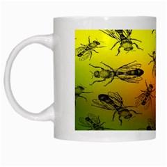 Insect Pattern White Mugs