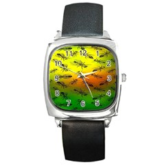 Insect Pattern Square Metal Watch