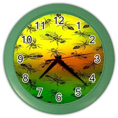 Insect Pattern Color Wall Clocks