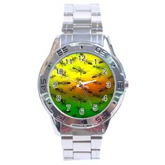 Insect Pattern Stainless Steel Analogue Watch