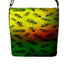 Insect Pattern Flap Messenger Bag (l)