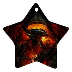 Dragon Legend Art Fire Digital Fantasy Ornament (star)