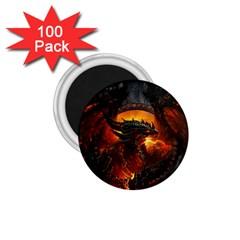 Dragon Legend Art Fire Digital Fantasy 1 75  Magnets (100 Pack)