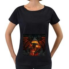 Dragon Legend Art Fire Digital Fantasy Women s Loose Fit T Shirt (black)