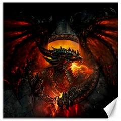 Dragon Legend Art Fire Digital Fantasy Canvas 16  X 16