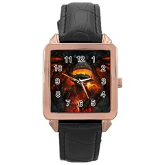 Dragon Legend Art Fire Digital Fantasy Rose Gold Leather Watch