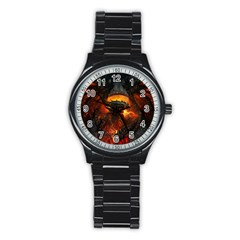 Dragon Legend Art Fire Digital Fantasy Stainless Steel Round Watch
