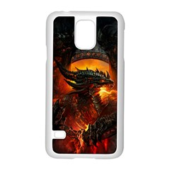 Dragon Legend Art Fire Digital Fantasy Samsung Galaxy S5 Case (white)