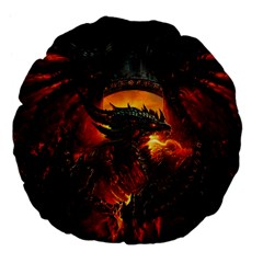 Dragon Legend Art Fire Digital Fantasy Large 18  Premium Flano Round Cushions