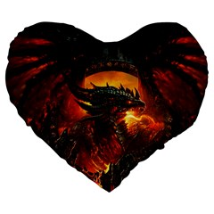 Dragon Legend Art Fire Digital Fantasy Large 19  Premium Flano Heart Shape Cushions