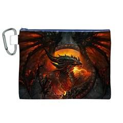 Dragon Legend Art Fire Digital Fantasy Canvas Cosmetic Bag (xl)