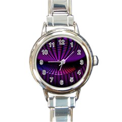 Glass Ball Texture Abstract Round Italian Charm Watch
