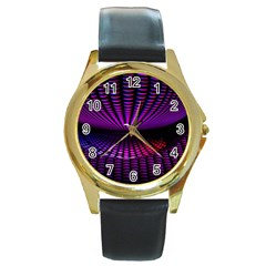 Glass Ball Texture Abstract Round Gold Metal Watch