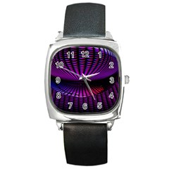 Glass Ball Texture Abstract Square Metal Watch
