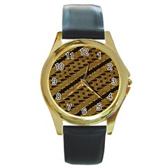 Traditional Art Indonesian Batik Round Gold Metal Watch