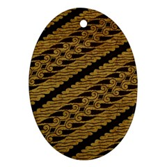 Traditional Art Indonesian Batik Oval Ornament (two Sides)