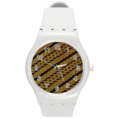 Traditional Art Indonesian Batik Round Plastic Sport Watch (m)