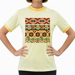 Aztec Pattern Women s Fitted Ringer T Shirts