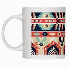 Aztec Pattern White Mugs