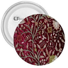 Crewel Fabric Tree Of Life Maroon 3  Buttons