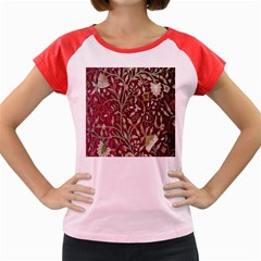 Crewel Fabric Tree Of Life Maroon Women s Cap Sleeve T Shirt